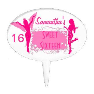 Pink dancers sweet sixteen cake topper