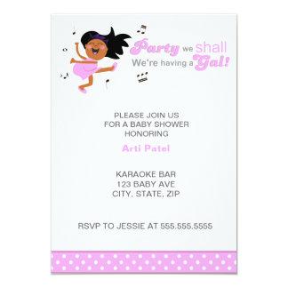 "Pink Dancing Dark skin Mom-to-be girl baby shower 5"" X 7"" Invitation Card"