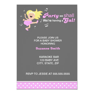 """Pink Dancing Mom-to-be modern girl baby shower 5"""" X 7"""" Invitation Card"""