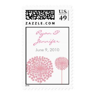 Pink Dandelion Flower Custom Wedding Stamps