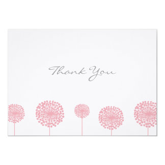 Pink Dandelion Flower Flat Thank You Note Cards