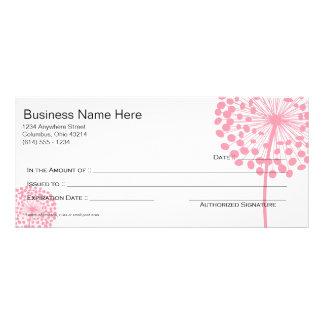 Pink Dandelion Flower Gift Certificate Design 3