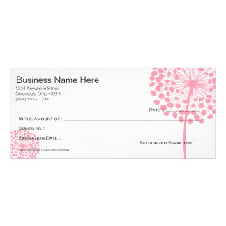 Pink Dandelion Flower Gift Certificate Design 3 Rack Card