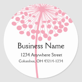 Pink Dandelion Flower Round Address Labels