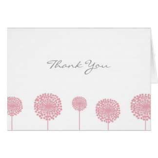 Pink Dandelion Flower Thank You Note Card