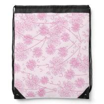 Pink dandelion flowers drawstring bag