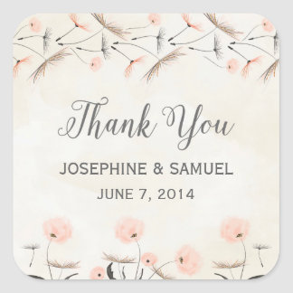 Pink Dandelion Flowers Thank You Stickers