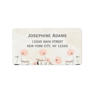 Pink Dandelion Flowers Watercolor Address Labels