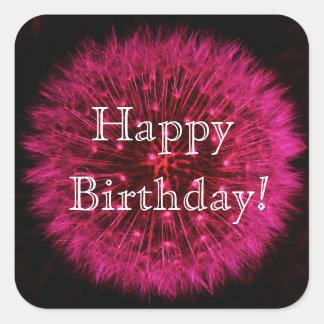 Pink Dandelion Happy Birthday Sticker