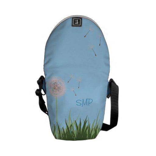 Pink Dandelion Personalized Messenger Bag