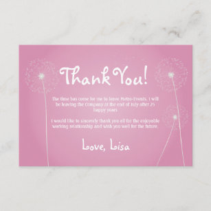 Pink Dandelion Thank You Cards