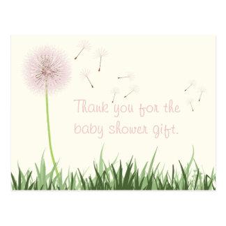Pink Dandelion Thank You Postcard