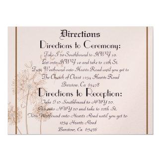 "Pink Dandelion Wedding  Direction Formal Print 6.5"" X 8.75"" Invitation Card"