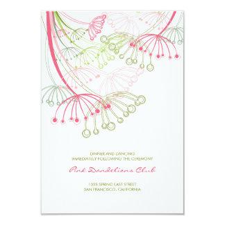 Pink Dandelions Flower Spring Wedding Reception Card