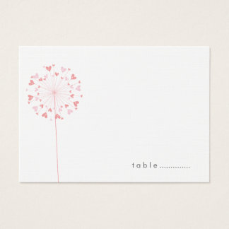 Pink Dandelions Love Summer Wedding Place Cards