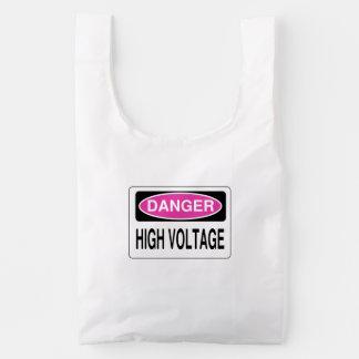 Pink Danger High Voltage Hazard Sign Reusable Bag