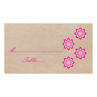 Pink Daring Floral Blooms Wedding Place Card Business Card Template