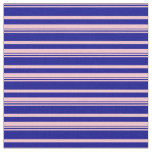 [ Thumbnail: Pink & Dark Blue Colored Pattern of Stripes Fabric ]