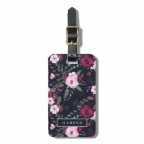 Pink & Dark Blue Rose Pattern Custom Name Address Luggage Tag