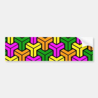 Pink, Dark Green, Yellow, Orange Geometric Pattern Bumper Sticker