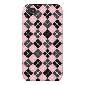 Pink Dark Grey Black and White Argyle iPhone 4 Cover