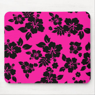 Pink Dark Hawaiian Pattern Mouse Pad