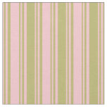[ Thumbnail: Pink & Dark Khaki Striped/Lined Pattern Fabric ]