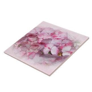 Pink & Dark Pink Hydrangea Flowers Ceramic Tile