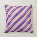 [ Thumbnail: Pink & Dark Slate Blue Lined Pattern Throw Pillow ]