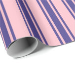 [ Thumbnail: Pink & Dark Slate Blue Lined Pattern Wrapping Paper ]