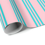 [ Thumbnail: Pink & Dark Turquoise Colored Pattern Wrapping Paper ]