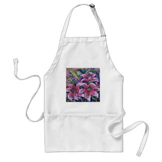 pink day lilies adult apron
