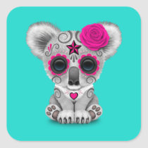Pink Day of the Dead Baby Koala Square Sticker