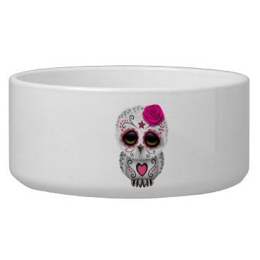 Halloween Themed Pink Day of the Dead Baby Owl Bowl