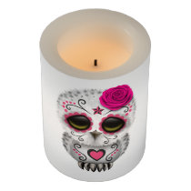 Pink Day of the Dead Baby Owl Flameless Candle