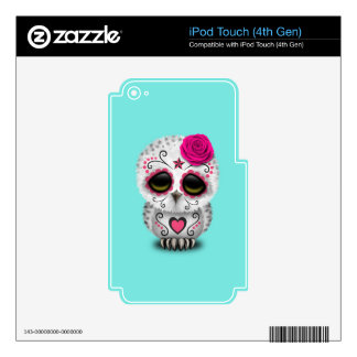 Pink Day of the Dead Baby Owl iPod Touch 4G Decal