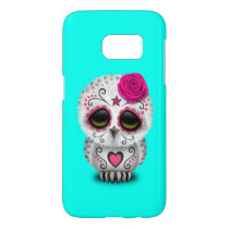 Pink Day of the Dead Baby Owl Samsung Galaxy S7 Case