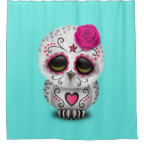 Pink Day of the Dead Baby Owl Shower Curtain