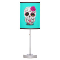 Pink Day of the Dead Baby Owl Table Lamp