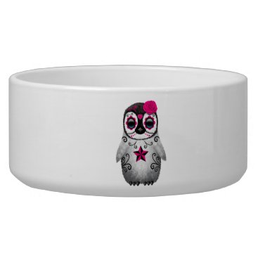 Halloween Themed Pink Day of the Dead Baby Penguin Bowl