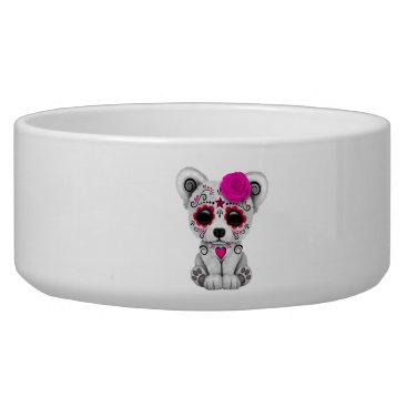 Halloween Themed Pink Day of the Dead Baby Polar Bear Bowl