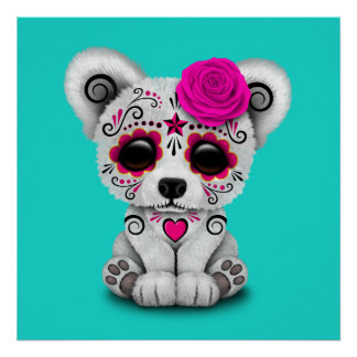 Pink Day of the Dead Baby Polar Bear Poster