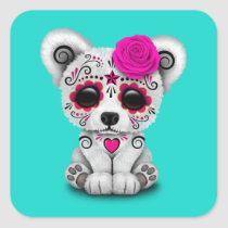 Pink Day of the Dead Baby Polar Bear Square Sticker
