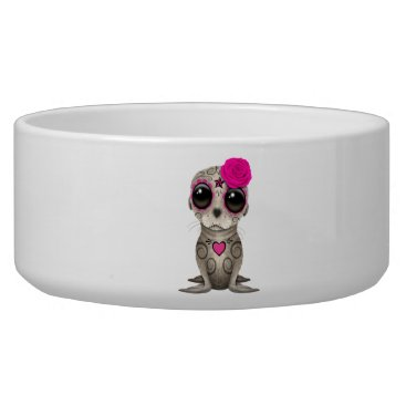 Halloween Themed Pink Day of the Dead Baby Sea Lion Bowl