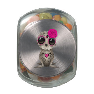 Pink Day of the Dead Baby Sea Lion Glass Candy Jars
