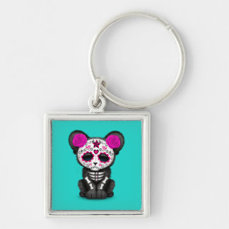 Pink Day of the Dead Black Panther Cub Keychain