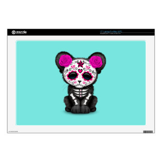 Pink Day of the Dead Black Panther Cub Laptop Skins