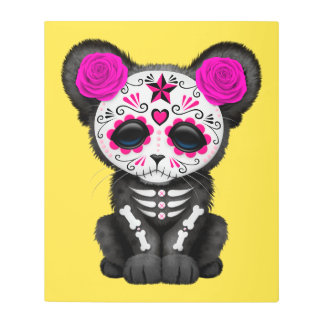 Pink Day of the Dead Black Panther Cub Metal Print