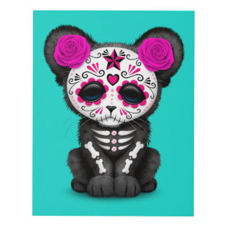Pink Day of the Dead Black Panther Cub Panel Wall Art