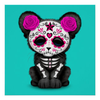 Pink Day of the Dead Black Panther Cub Poster